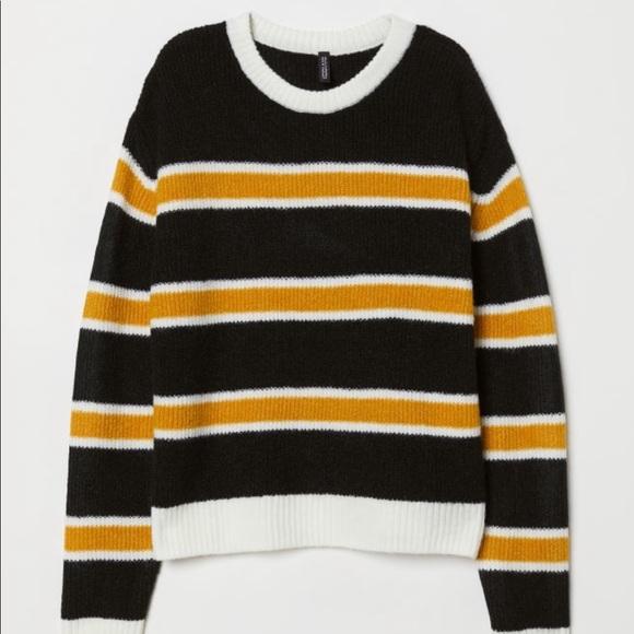 Hm Sweaters Hm Knit Sweater Blackwhiteyellow Striped Small Poshmark